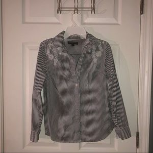 button up shirt with embedded flowers